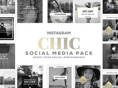 CHIC INSTAGRAM Social Media Template Pack start up instagram photography beautiful designer design ui ux graphic template social media