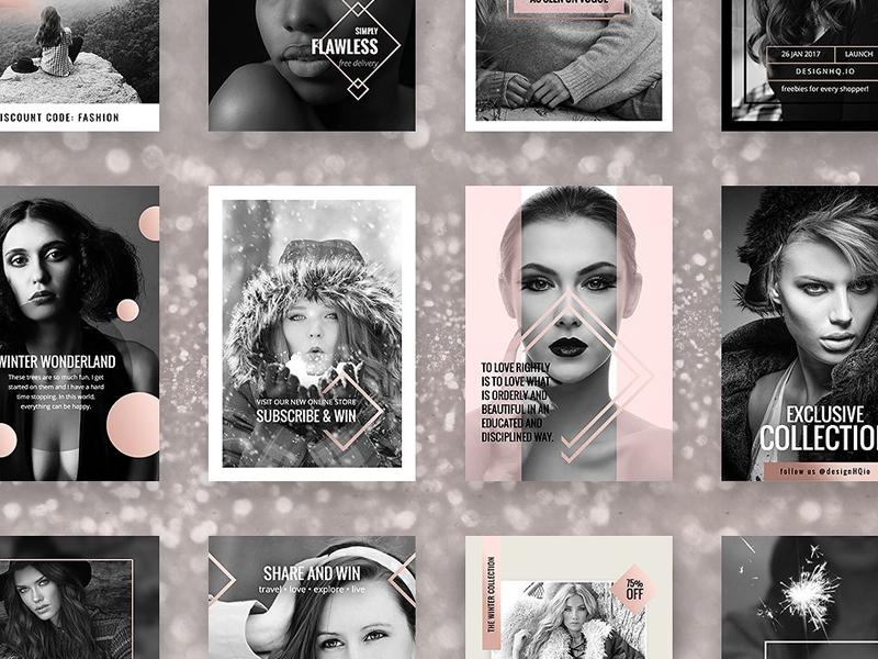 Rose Gold Social Media Bundle popular pastel beautiful design illustration creative market pinterest twitter instagram facebook social media rose gold