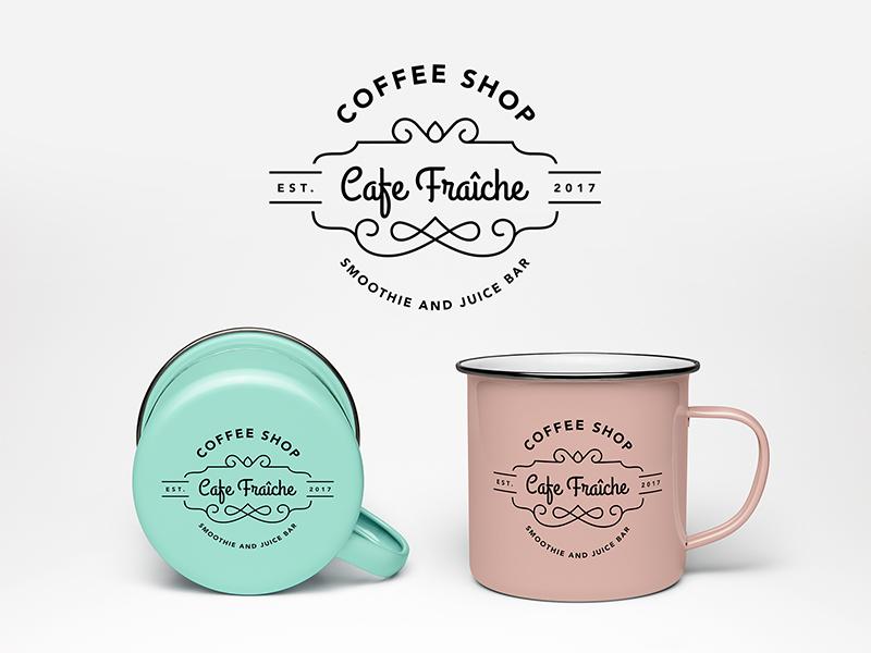 Logo design - Cafe Fraîche branding illustrator design product mug pink mint pastels cute vintage coffee shop logo
