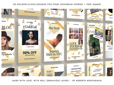 INSTAGRAM STORIES GOLD FOIL TEMPLATE` the best facebook social media instagram template instagram stories creative market