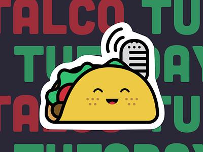 Talco Tuesday Sticker graphic cute happy illustration food taco sticker button