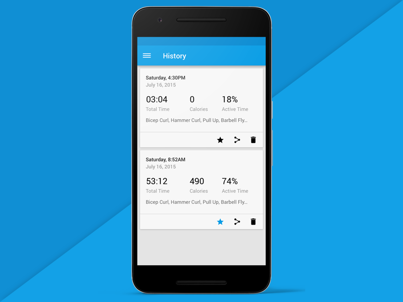 Workout History ux ui exercise fitness workout cards history android material design material