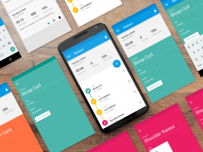 Fitness App Screens ux ui exercise fitness workout cards history android material design material