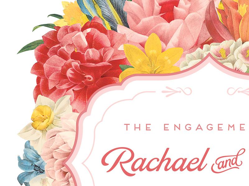 Our Engagement engagement wedding card flowers graphic design invitation illustration botanical floral font print script