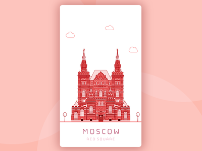 moscow illustration moscow square red travel