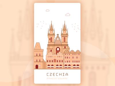 Prague Square ui illustration travel scenery square prague