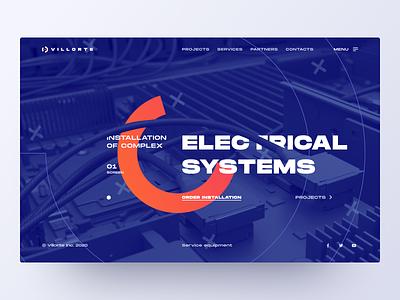 Electrical systems – Promo flat desktop web design clean electronic figma concept mainpage web promo interface website minimal design ux ui