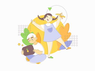 Online camp illustration flatdesign personage vector summer atwinta camp children web design flat illustration