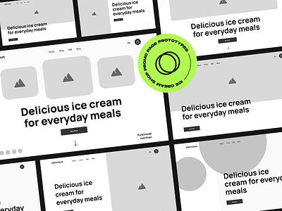 ice cream shop website flat desktop product icecream clean promo prototypes minimal web ux ui