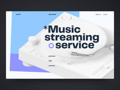 Music streaming service simple desktop web design promo clean website minimal web design ui
