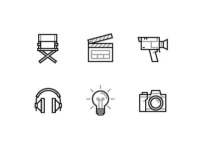 Cinema icons - Free free icon cinema chair director super 8 clap headphone light camera idea