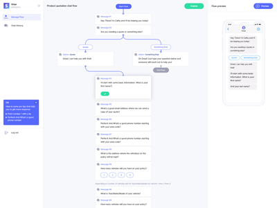Chatbot flow design messenger chat flow chatbot product flat web ux ui design