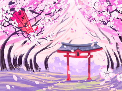 Sakura Blossom wind springtime loneliness flowers illustration nature illustration japan garden nature digital painting illustration art illustrator digital illustration spring flowers blossoms sakura illustration graphic design digital art design