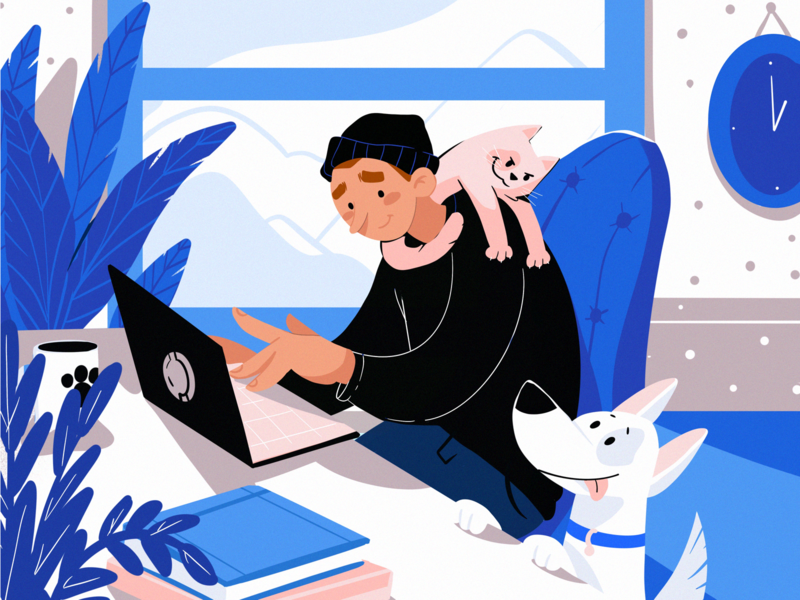 Work from Home Illustration animal illustration man illustration design process home office home dog cat pets work from home stay home character design illustration art digital painting digital illustration illustrator design studio illustration graphic design digital art design
