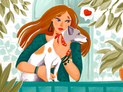 Unconditional Love Illustration animal lover illustrations animal illustration doggy woman illustration dog illustration animals love pet dog character illustration art design studio digital painting digital illustration illustrator digital art graphic design illustration design