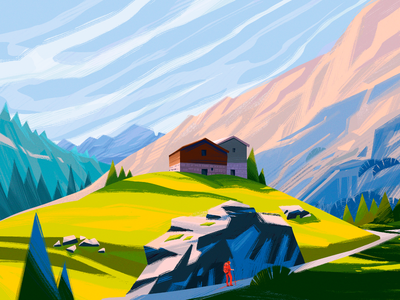 Pennine Alps Illustration illustrations landscape illustration spring house hiking nature illustration alps mountains landscape nature creative illustration illustration art digital painting digital illustration illustrator design studio illustration graphic design digital art design
