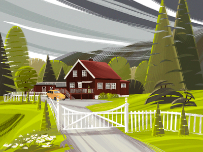 Norway Colors Illustration green travel nature illustration house forest village countryside landscape nature illustration art digital painting digital illustration illustrator design studio illustration graphic design digital art design norwegian norway