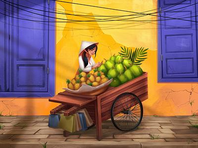 Fruit Seller Illustration fruits asia traveling illustrations thai woman city street fruit thailand character illustration art digital illustration illustrator design studio illustration digital painting graphic design digital art design