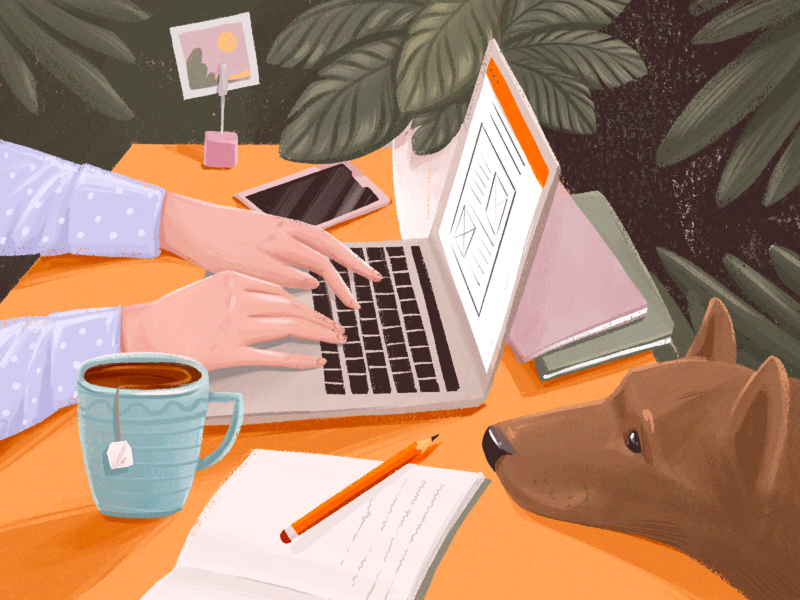 Designer Workspace Illustration cosy illustrations user experience design work from home freelancer dog design process designer workspace blog illustration creative illustration illustration art digital painting digital illustration illustrator design studio illustration graphic design digital art design