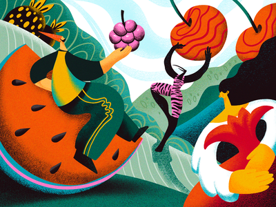 Tastes of Summer Illustration fruit illustration nature summer illustration people illustration people characters healthy food healthy life fruit summer creative illustration illustration art digital painting digital illustration illustrator design studio illustration graphic design digital art design