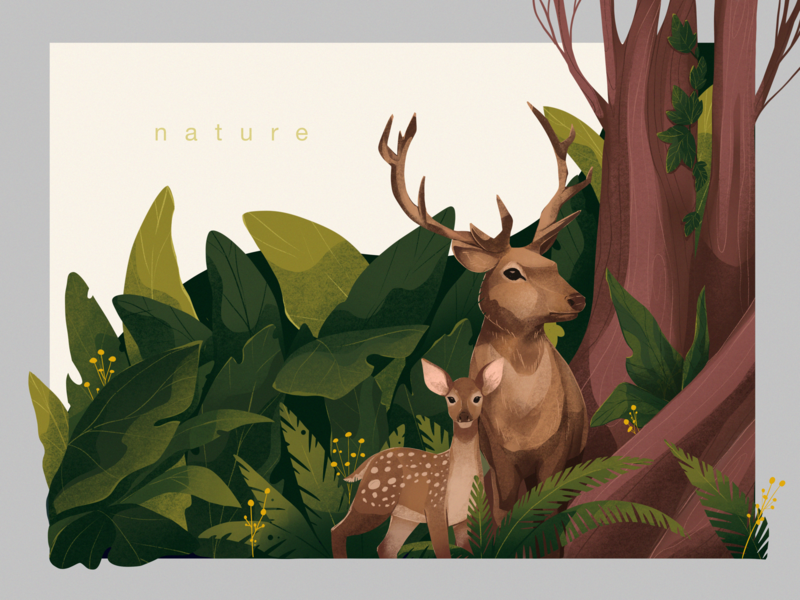 Forest Deer Illustration isolation family animal illustration forest animals animals nature art trees nature forest deer illustrations illustration art digital painting digital illustration illustrator design studio illustration graphic design digital art design