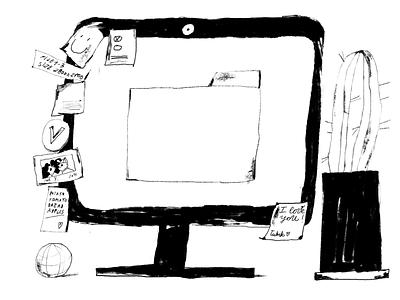Workspace Details Illustrations artwork illustrations computer design process designers objects work desk monochrome black and white workspace creative illustration illustration art digital painting digital illustration illustrator design studio illustration graphic design digital art design