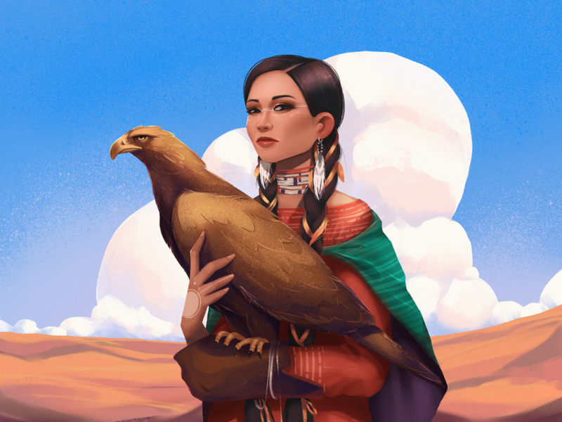 Under One Sky Illustration illustrations nature illustration landscape enviroment nature squaw woman hawk eagle bird procreate illustration art digital painting digital illustration illustrator design studio illustration graphic design digital art design