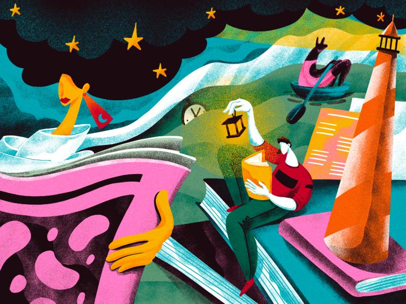 To the Lighthouse Illustration books light lighthouse bright artwork characters dreaming reading night illustrations creative illustration illustration art digital illustration illustrator design studio illustration graphic design digital painting digital art design