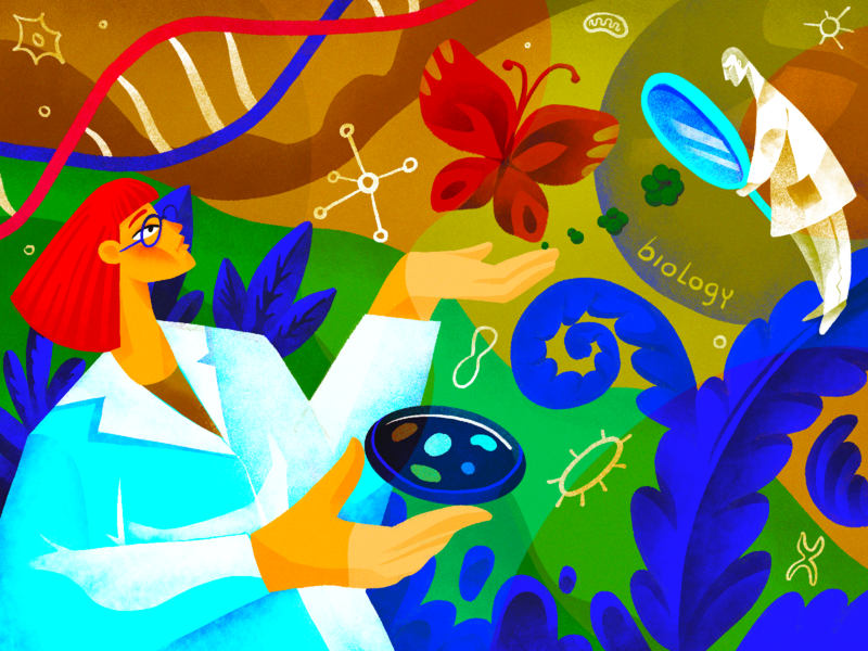 Science Illustrations: Biology research studies environment nature occupation people scientist biology education science character illustration art digital painting digital illustration illustrator design studio illustration graphic design digital art design