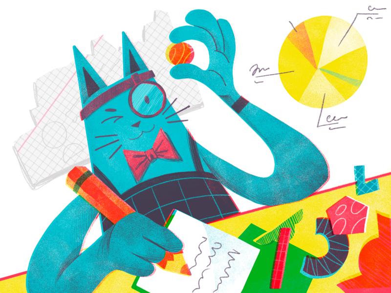 Analysis Cat Illustration analytics scientist researcher character design creative animal cat graphs data analysis character illustration art digital painting digital illustration illustrator design studio illustration graphic design digital art design