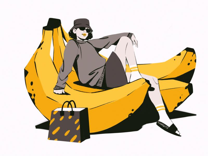 Yellow Vibes Illustration colors people creative illustration posing woman outfit banana fruit yellow fashion illustrations illustration art digital painting digital illustration illustrator design studio illustration graphic design digital art design