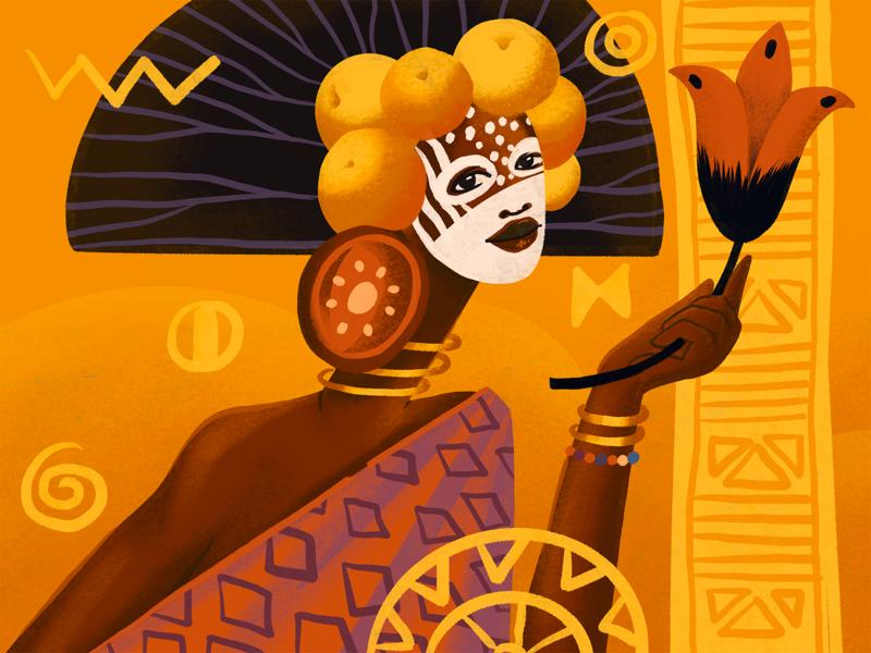 Ethnic Beauty Artwork creative illustration yellow countries culture flower beauty woman ethnicity ethnic illustrations character illustration art digital painting digital illustration illustrator design studio illustration graphic design digital art design