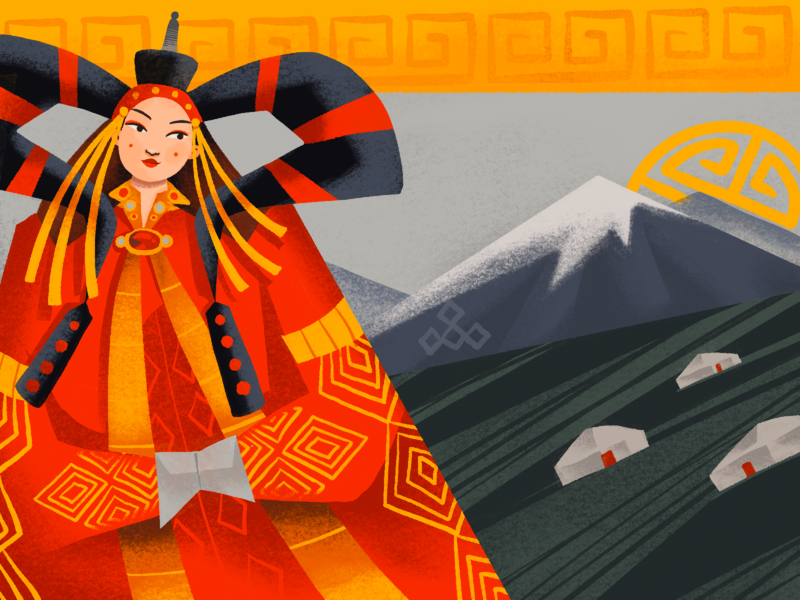 Ethnic Beauty Illustration: Mongolia people procreate art woman national beauty culture ethnicity east asia mongolia ethnic character illustration art digital painting digital illustration illustrator design studio illustration graphic design digital art design
