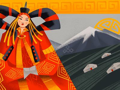 Ethnic Beauty Illustration: Mongolia people procreate art woman national beauty culture ethnicity east asia mongolia ethnic character illustration art digital painting digital illustration illustrator design studio illustration graphic design digital art design