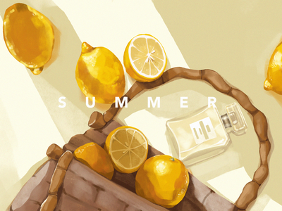Summer Glamour Illustration august procreate glamour fruit illustration yellow fruit perfume summer sun lemon illustrations illustration art digital painting digital illustration illustrator design studio illustration graphic design digital art design