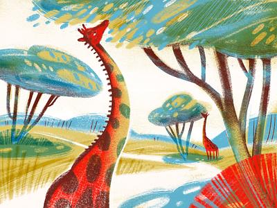 Animal World: Giraffes Illustration digital artwork nature illustration animal illustration procreate wild animals nature trees giraffes animals illustrations illustration art digital painting digital illustration illustrator design studio illustration graphic design digital art design