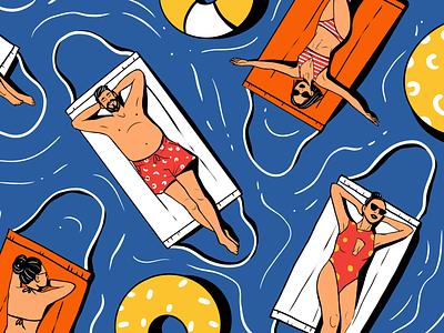 Life in Pandemic: Swim Safely holidays sea relax swimming pool masks people stay safe covid coronavirus poster creative illustration illustration art digital painting digital illustration illustrator design studio illustration graphic design digital art design