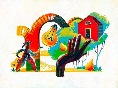 Home Inspiration Illustration summer building house illustration house home inspiration bulb light idea illustrations procreate illustration art digital painting digital illustration illustrator design studio illustration graphic design digital art design