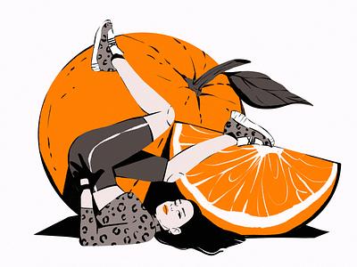 Orange Vibes Illustration fitness digital artwork illustrations posing woman girl colors orange fruit fashion procreate illustration art digital painting digital illustration illustrator design studio illustration graphic design digital art design