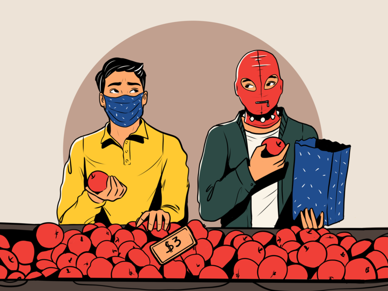 Life in Pandemic: Face Masks apples covid health coronavirus people man shopping mask poster design pandemic illustrations illustration art digital painting digital illustration illustrator design studio illustration graphic design digital art design