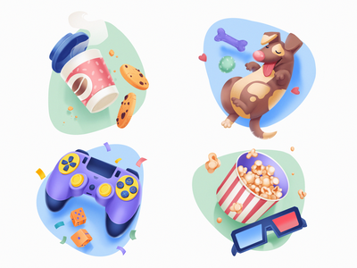 Anti-Cafe Icons games cute illustration icon set entertainment fun icon design illustrations dog cute icons character illustration art digital painting digital illustration illustrator design studio illustration graphic design digital art design