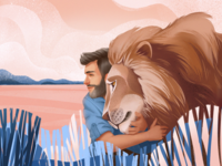 Power of Lion Illustration landscape environment nature animal art man wildlife illustration wildlife lion animals illustrations procreate illustration art digital painting digital illustration illustrator design studio illustration graphic design digital art design