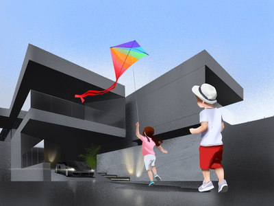 Childhood Brightness Illustration modern architecture house childhood people kite child contrast architecture kids illustrations children illustration art digital painting digital illustration illustrator design studio illustration graphic design digital art design