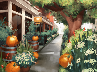 Cozy October Illustration city nature cozy art street fall october pumpkin autumn illustrations procreate illustration art digital painting digital illustration illustrator design studio illustration graphic design digital art design