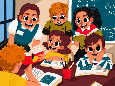 Schoolchildren Joy Illustration illustrations classroom reading funny illustration kids lesson education school children procreate character illustration art digital painting digital illustration illustrator design studio illustration graphic design digital art design