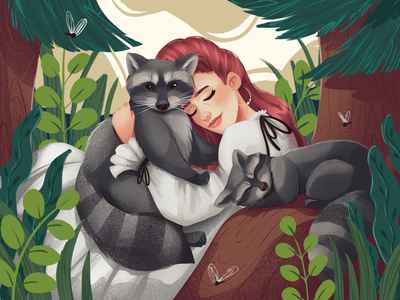 Cute Raccoons Illustration forest enviroment woman animal illustration cute animal nature wildlife art wildlife animal illustrations illustration art digital painting digital illustration illustrator design studio illustration graphic design digital art design raccoon