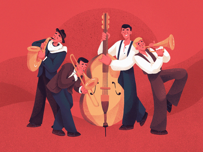 Jazzy Night Illustration musical instruments concert having fun people event musicians band jazz music illustrations procreate illustration art digital painting digital illustration illustrator design studio illustration graphic design digital art design
