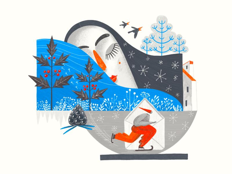 Art of Seasons: Winter Illustration winter sports environment nature artwork winter seasons procreate illustration art digital painting digital illustration illustrator design studio illustration graphic design digital art design