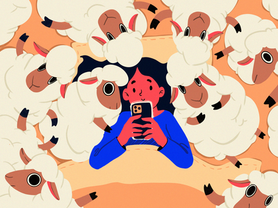 Social Addict Illustration chatting home illustrations night mobile sleep animals sheep social network procreate character illustration art digital painting digital illustration illustrator design studio illustration graphic design digital art design
