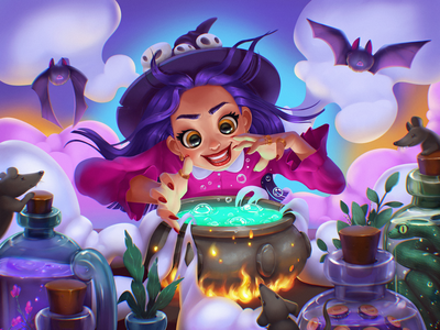 Halloween Witchery Illustration potion character design fairytale charms magic witchy halloween design halloween witch procreate character illustration art digital painting digital illustration illustrator design studio illustration graphic design digital art design